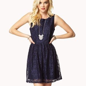 Forever 21 navy blue lace dress sleeveless